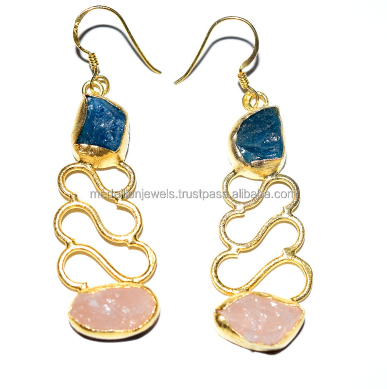 Natural Neon Apatite & Rose Quartz Gemstone Earrings, Gold Plated 925 Sterling Silver Earring, Handmade Fine Silver Jewelry