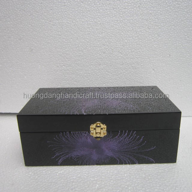 Violet flower in black wallpaper painted lacquer box