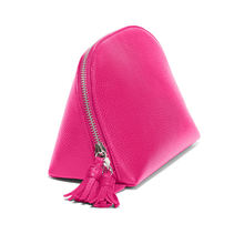 Brliant Pink color leather cosmetic pouch