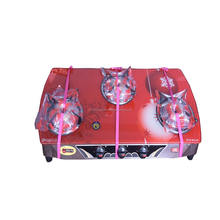 New Style Kitchen Cooking Red Glass Top 3 Burners Portable Gas Burner Stove