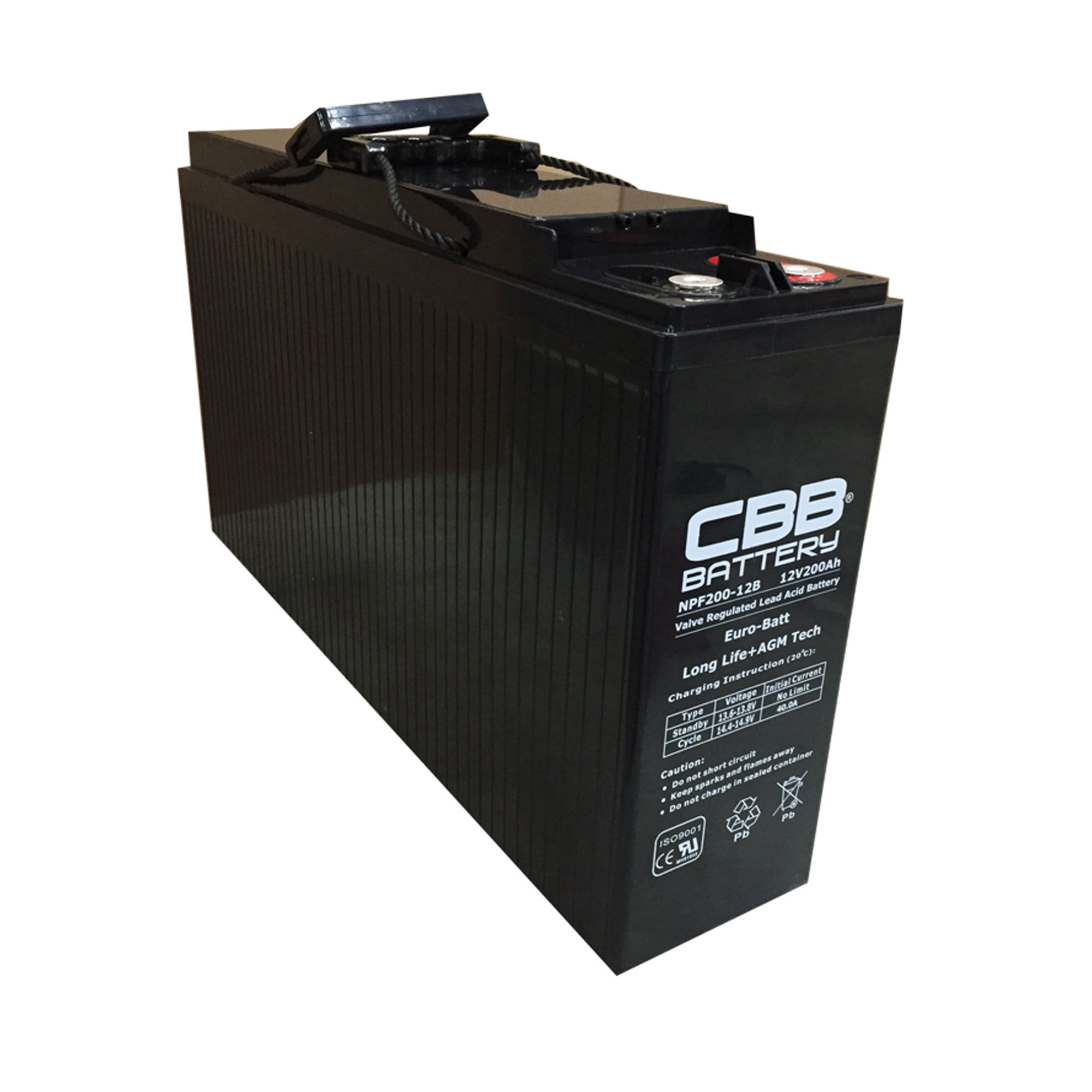 Deep Cycle Battery 12V 200AH Front Terminal AGM Battery For Wind Turbines