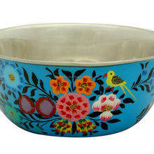 Floral design stainless steel kitchen cooking baking bakeware mixing bowl hand painted indian handmade dinnerware