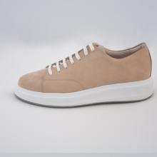 Popular Design Bej %100  Leather Sneakers 10402