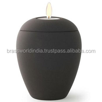 Simple Black Tealight Holder Funeral Urn By Brassworld India