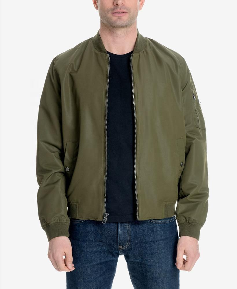 Men's Bomber Jacket Military Olive Water resistant Front zip closure Ribbed baseball collar Jacke polyester lining