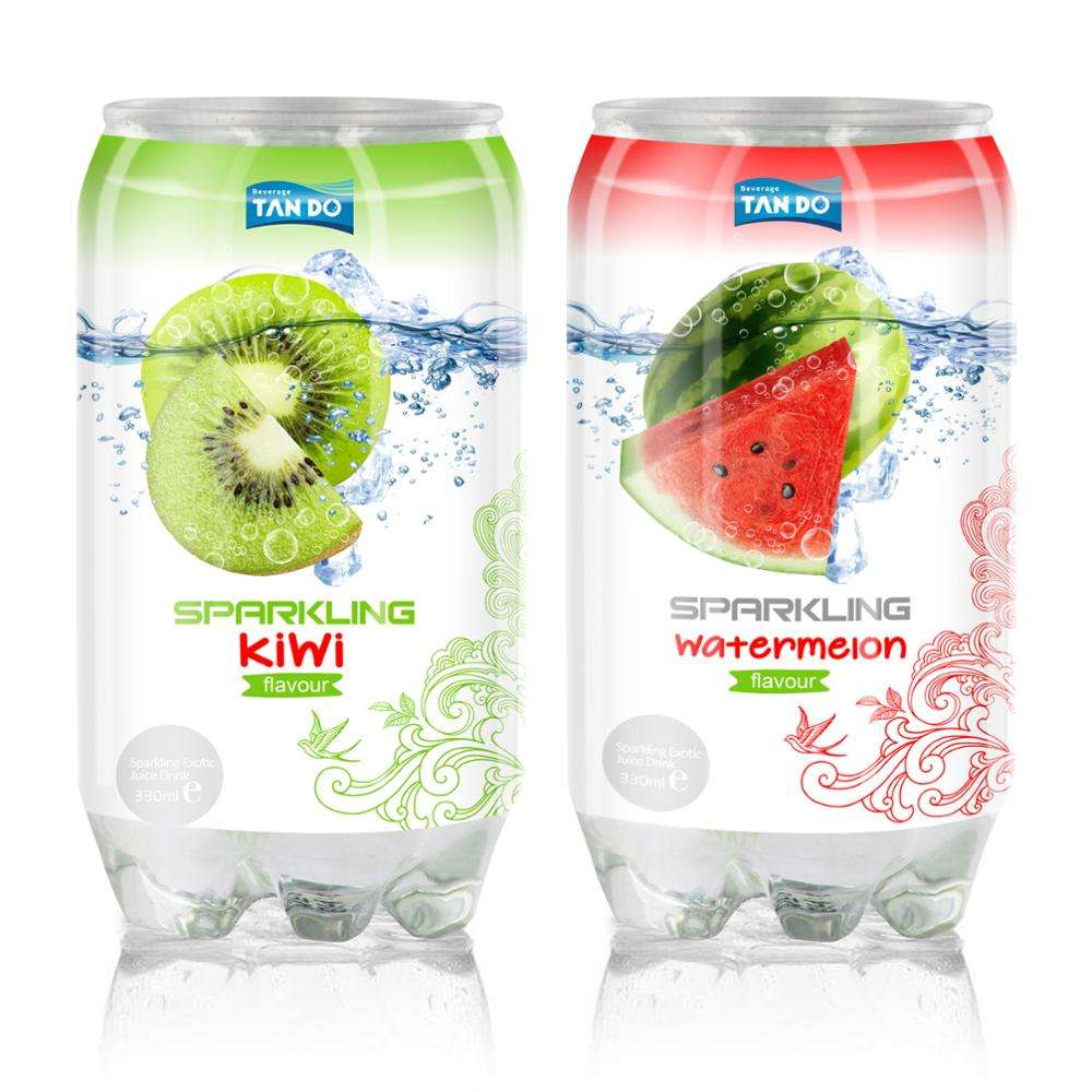Private Carbonated drink with Kiwi and water lemon flavor so taste pack PET can 330ml