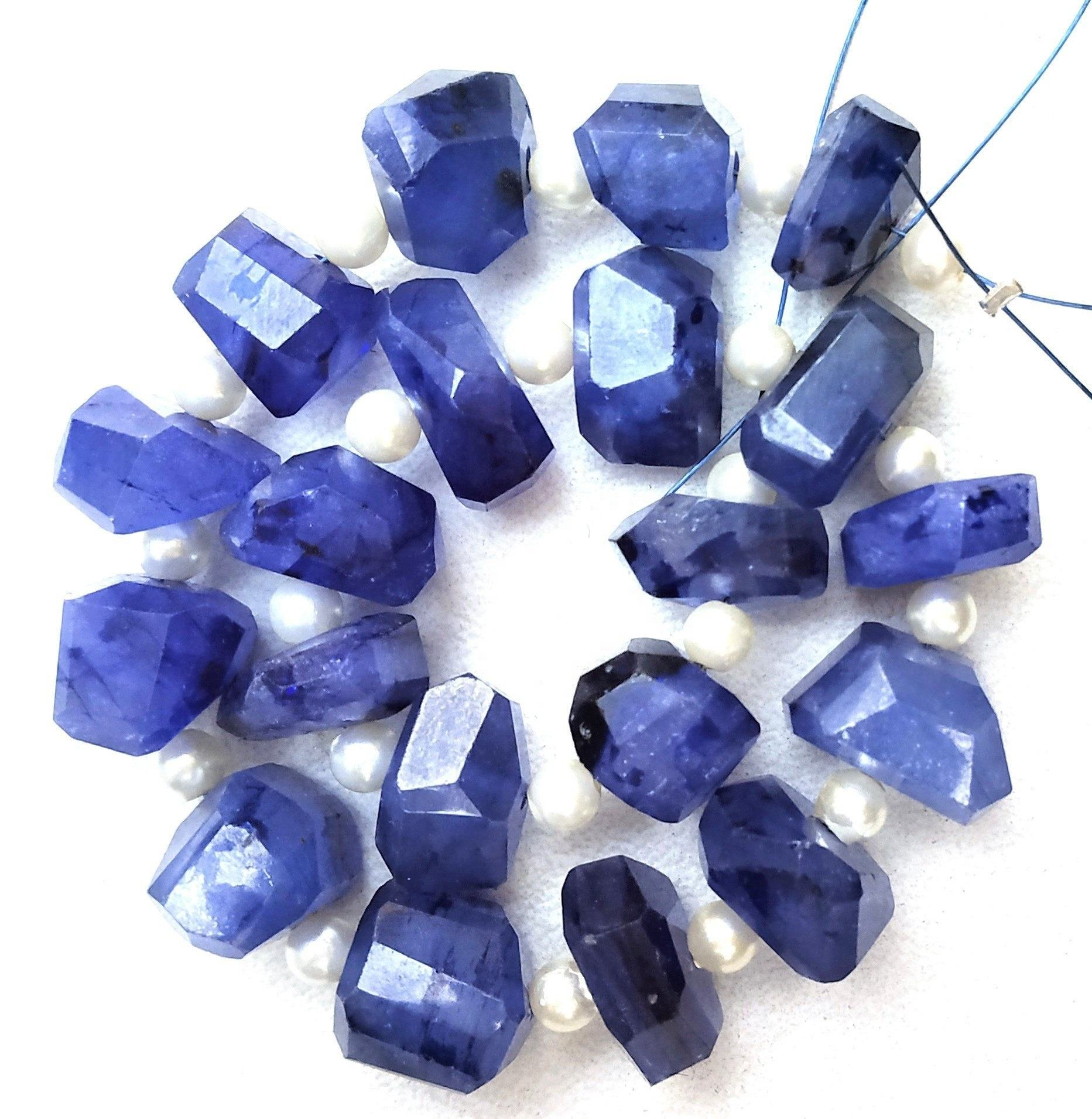 Brightness Natural Blue Sapphire Gemstone Faceted Nuggets Shape Beads