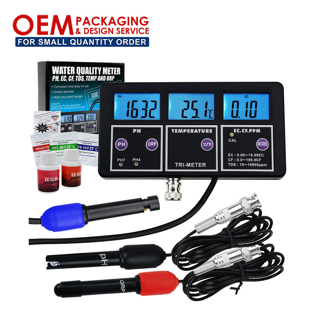 6 in 1 Multi-parameter pH/ ORP/ EC/ CF/ TDS PPM/ Temperature Combo Testing Meter Water Quality Meter (OEM Packaging Available)