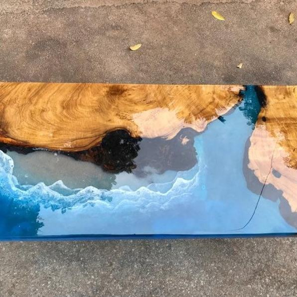 Antik Epoxy Resin Kayu Blue River Meja Kopi
