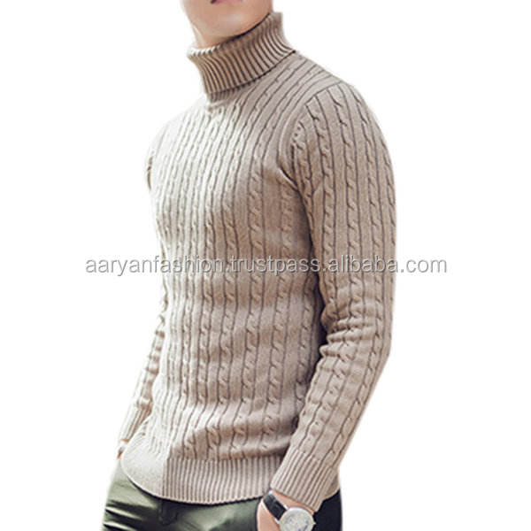 Mens Cotton High Collar Solid Color Knit Sweater