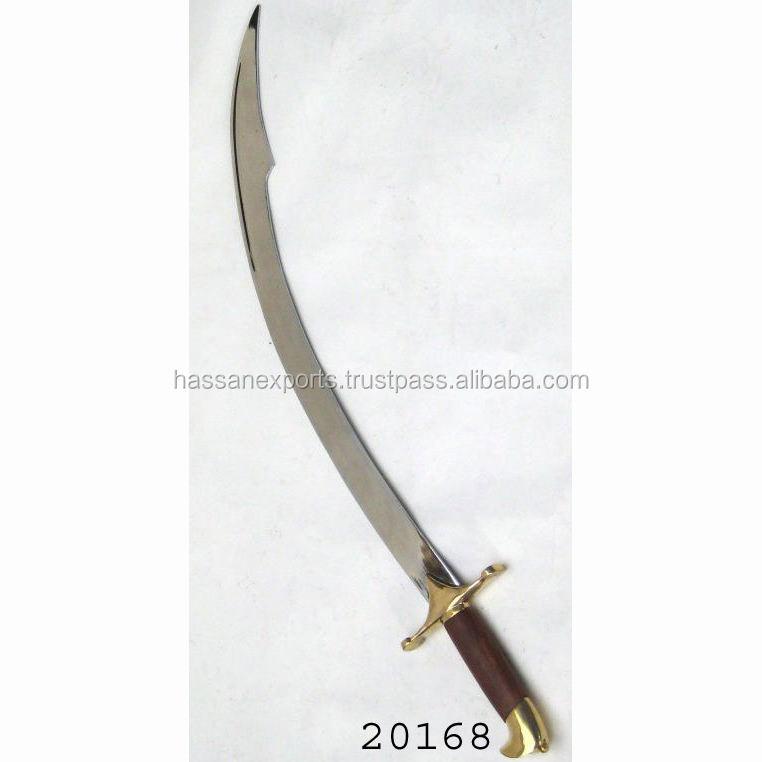 "NEW 37/"" Red Black Pirate Scimitar Sword Pakkawood Handle Curved Blade w// Sheath"