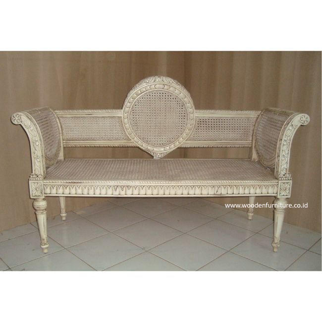 Antique Reproduction Rattan Sofa Classic Bench French Style Chair Cane European Style Home Furniture