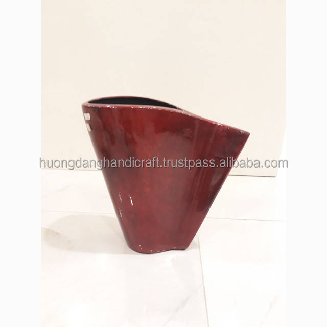 Vintage red pained lacquer vase, hight quality handmade vase from vietnam