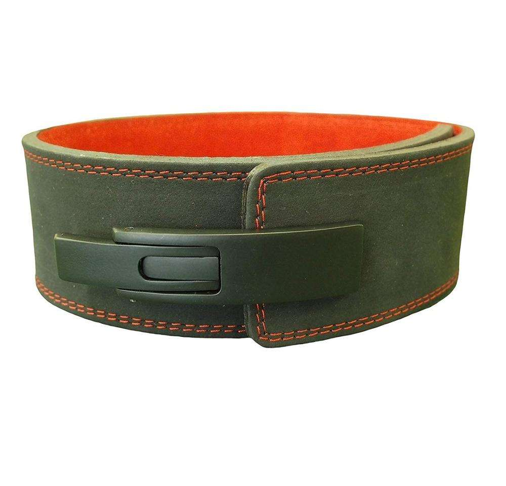 Amry Green Leather 10mm Hardcore Weightlifting Belt Lever Belt Powerlifting Fitness and Gym Accessories by Fit impex