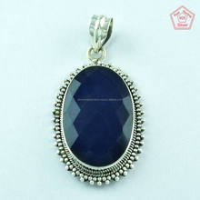 Sapphire Stone Oval Shape 925 Sterling Silver Pendant Manufacturer & Supplier India