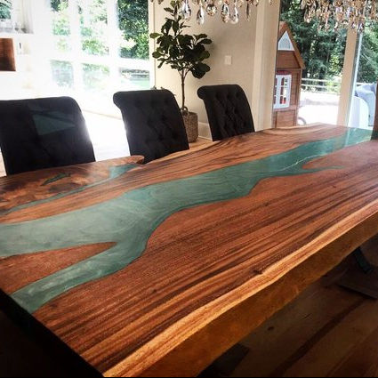 Golden Acacia Live Edge And Epoxy River Dinning Table