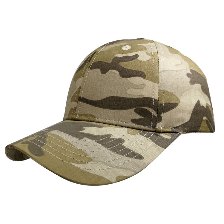 Wholesale 6 Panel High Quality Camouflage Hats 100% Cotton Blank Camo Baseball Caps