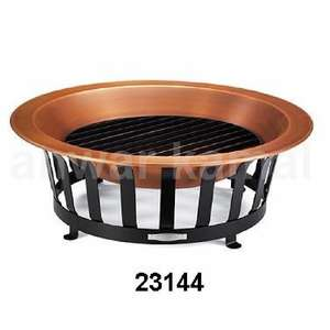 Outdoor Copper Finish Bowl Fire Pit Iron Black Stand
