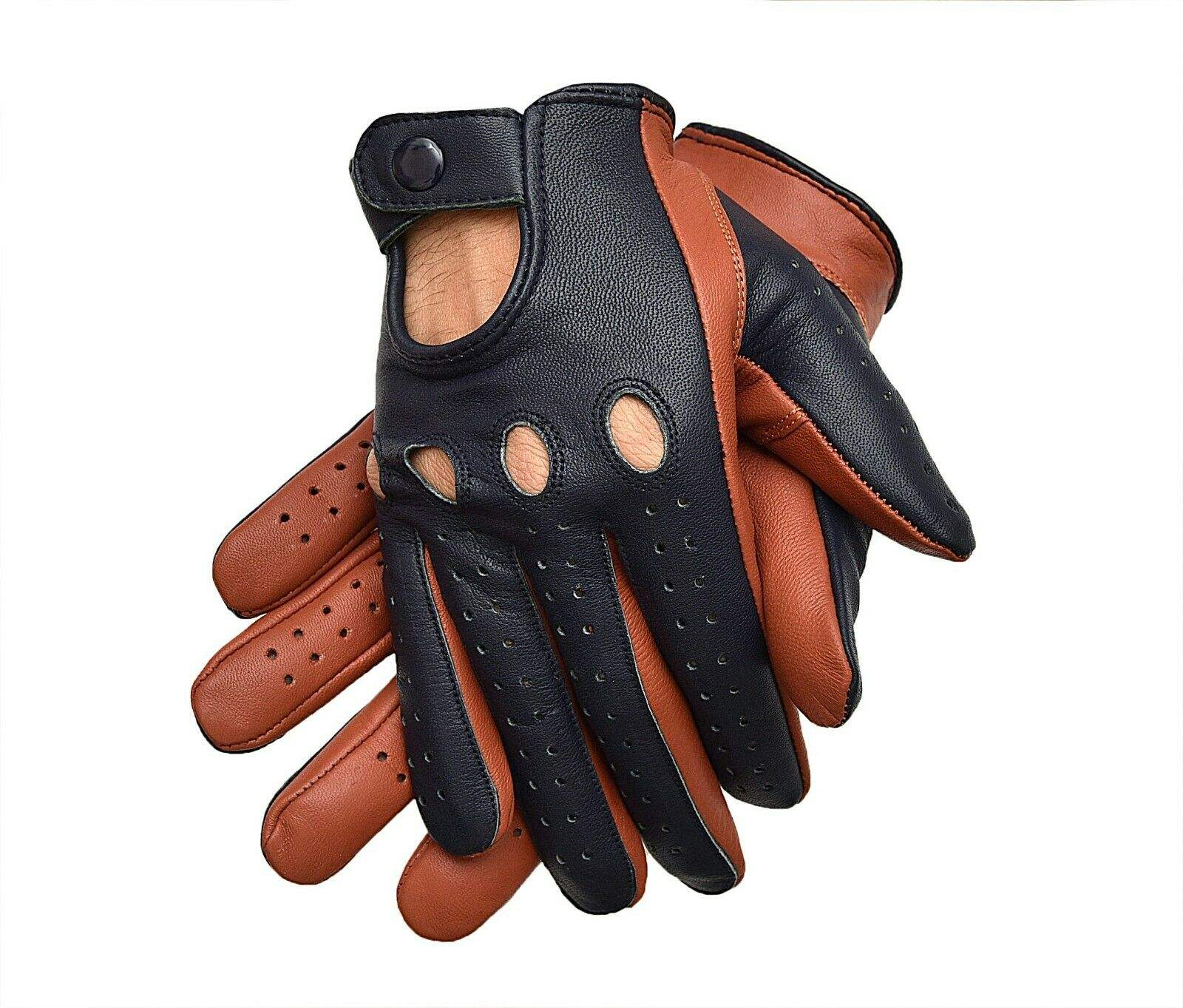 Real Soft Sheep Leather Car Bus Chauffeur Style Fashion Driving Classic Gloves