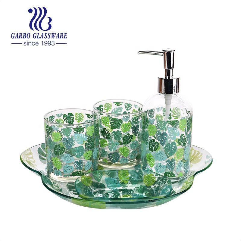 Cheap Decal Glass Bathroom Set with tray Includes Soap Dispenser with Pump and tumblers Glass Bathroom Accessories Set