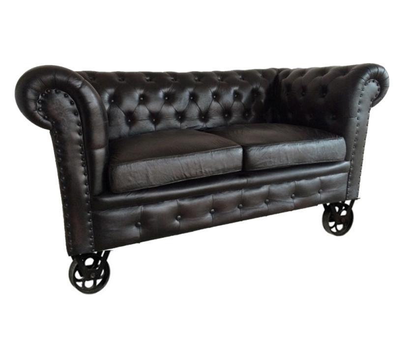 chesterfield sofa genuine leather on wheels , Industrial sofa Design
