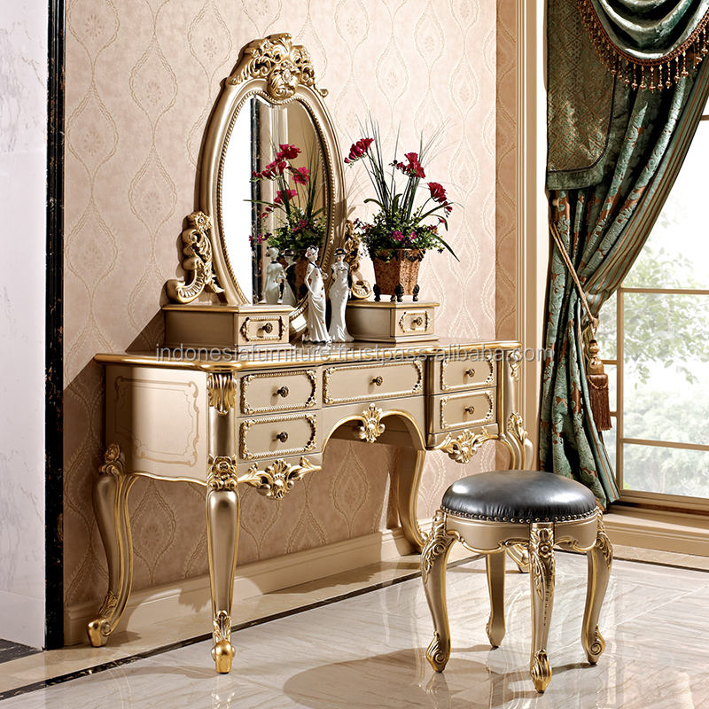 European Dresser Small apartment Solid carved Dressing table Princess Dresser Makeup mirror Makeup stool Set Dresser