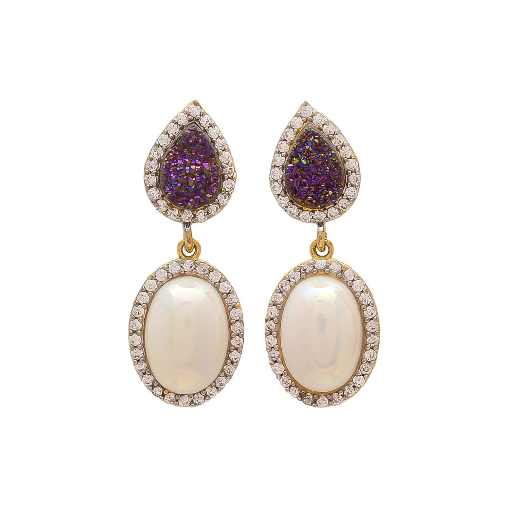 Pearl & Purple Druzy Earrings, Druzy Earrings Pearl Earring