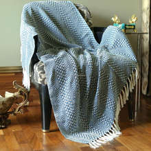 Indian Rectangular Soft Cotton Large Tassel Twin Knit Knitted Blanket Throw