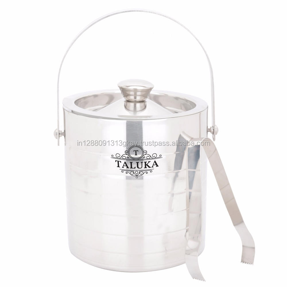 Best quality 33 oz 50 oz with tong mirror finish full ribbed ice bucket