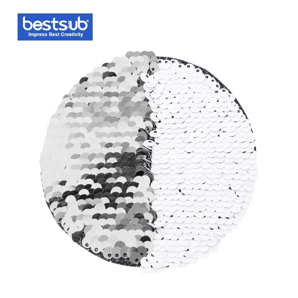 Round Flip Sequins Adhesive Silver with White BJLP10R-S