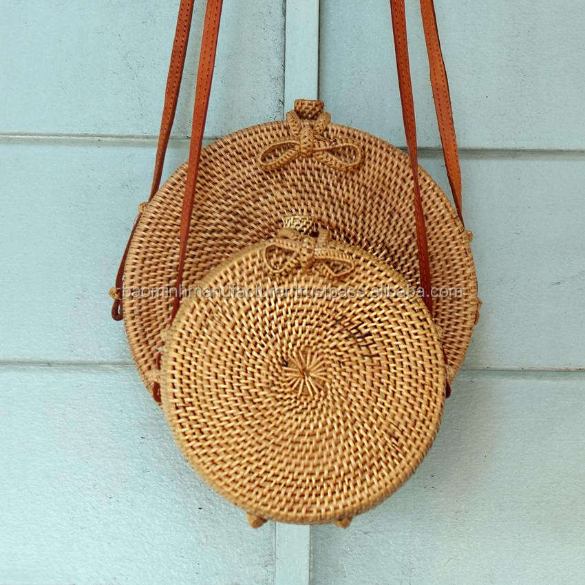 Bali Harvest Round Woven Ata Rattan Bag with Bow Clasp