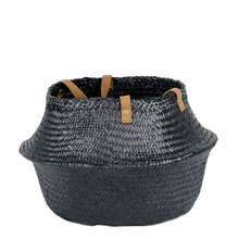 Black seagrass belly basket with handles made in Vietnam