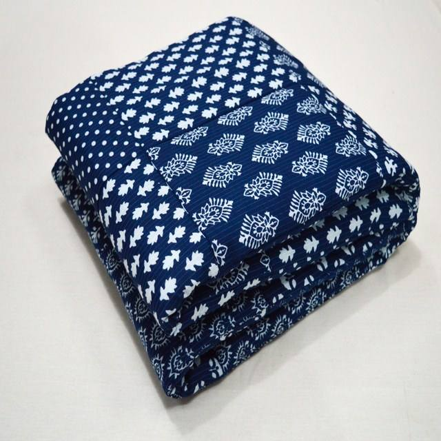 Indigo Print Design Kantha Baby Blankets Handmade Throw Cotton Filled Reversible Patchwork Kantha Blue Baby Quilt