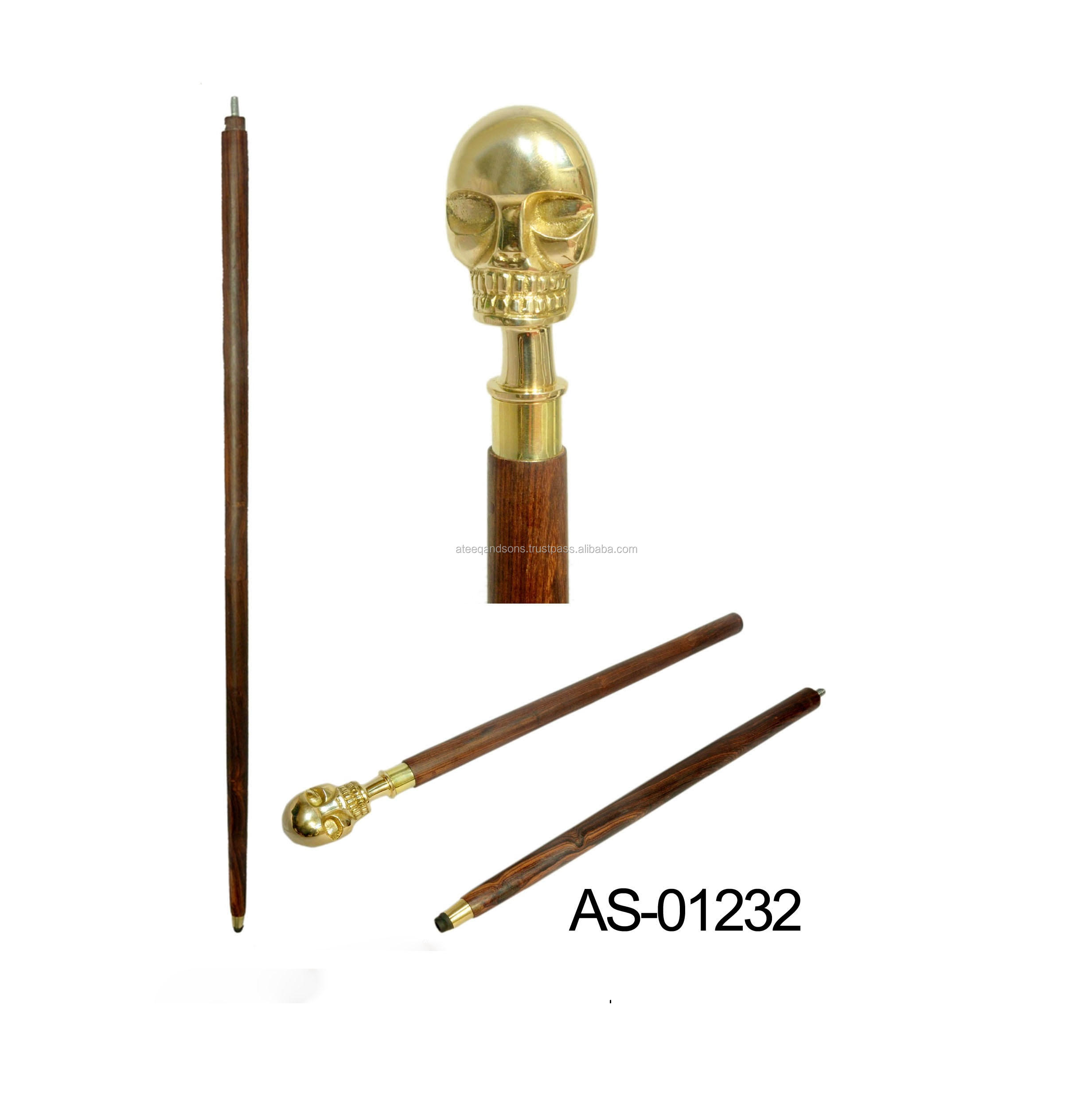 Scalp And Skulld l Handle Brass And Wood Walking Stick