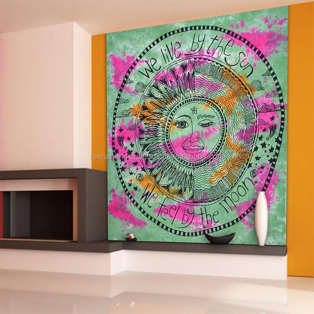 インドのラマグリーンbadmedi孔雀曼荼羅クイーンサイズ壁掛け綿タペストリー