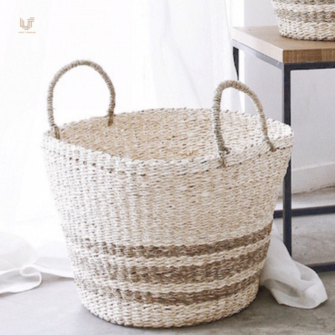 Top selling set of 2 natural striped weaving seagrass and palm leaf basket