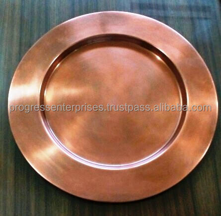 Handcrafted Copper Hammered Charger Plates in Antique finish
