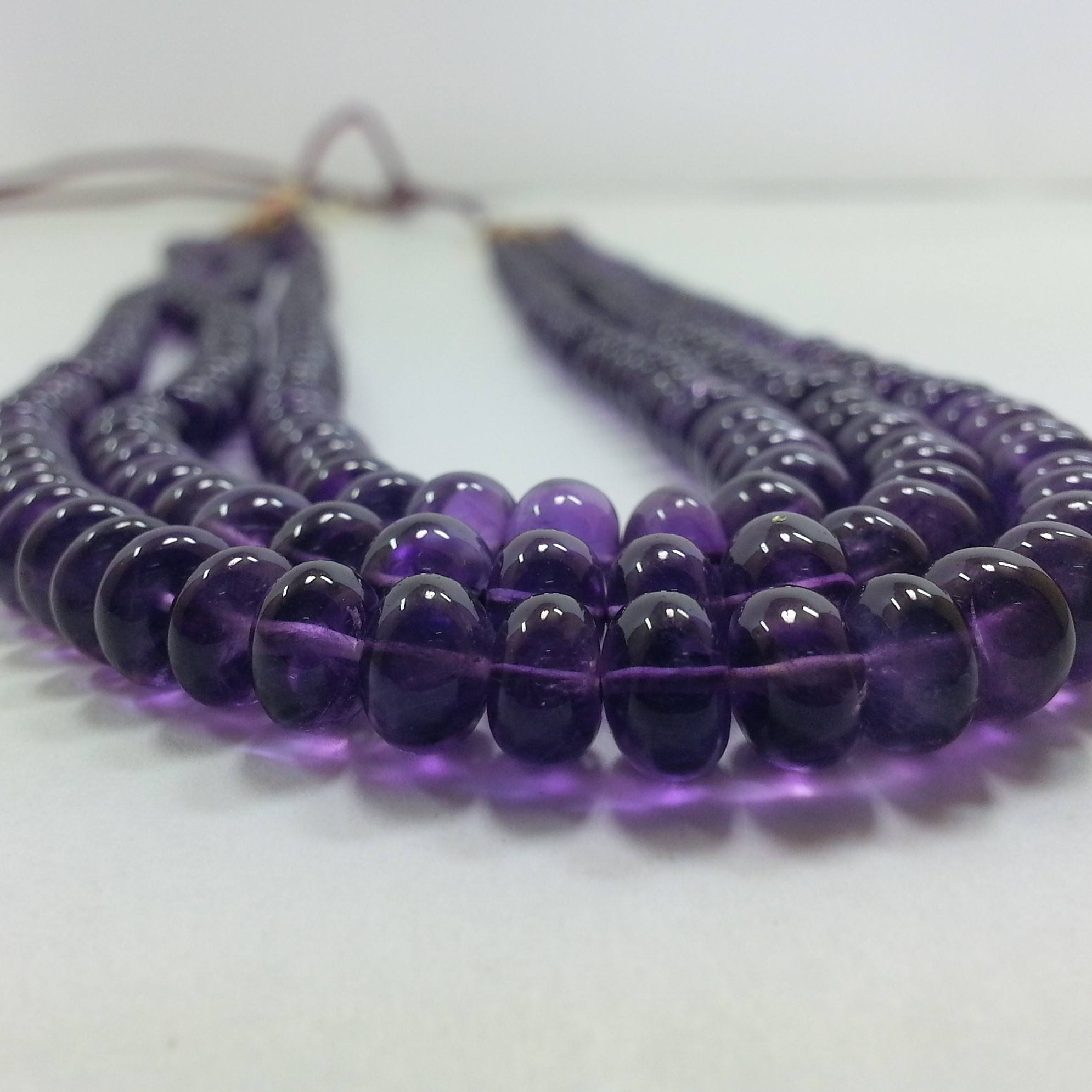 Natural AAA African Amethyst Stone Beaded Necklace Smooth Rondelle Beads