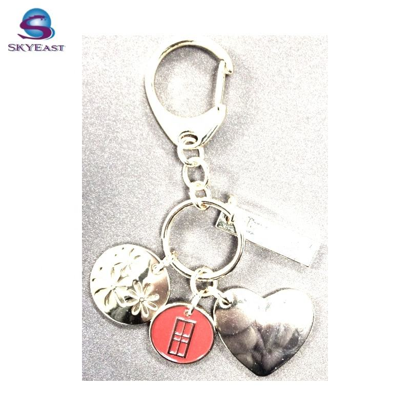 Hot Sell Enamel Charm and Heart Shape Tag with Keychain and Ring