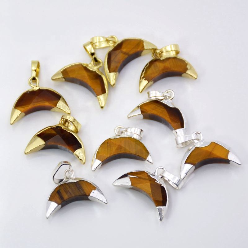Tiny double horn shape pendant cute tiger eye gemstone charms crescent moon jewelry gold /silver plated for bracelet