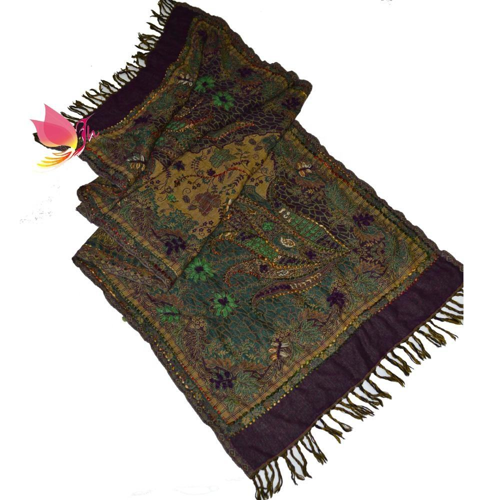 newest embroidery pattern scarf hand embroidery pure wool pashmina scarf ready available in mix colors