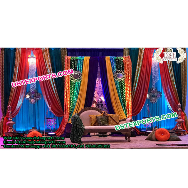 Bollywood Wedding Colorful Backdrop Curtains Muslim Wedding Arch Type Backstage Curtains Arch Type Backdrop Curtains