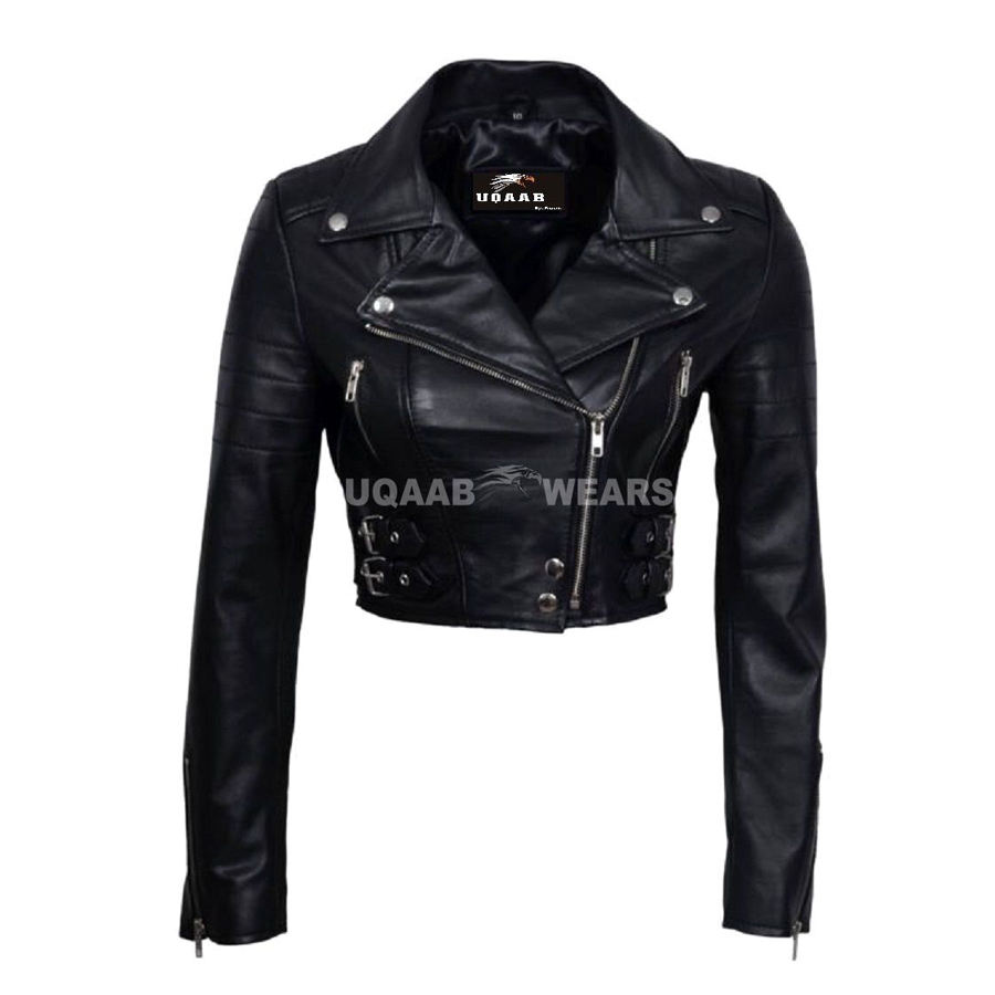 Womens Ladies Biker Leather Jacket Short Cropped Real Soft Leather Jacket Lamb Sheep Nappa Leather Slim Short Fitted Jacket OEM