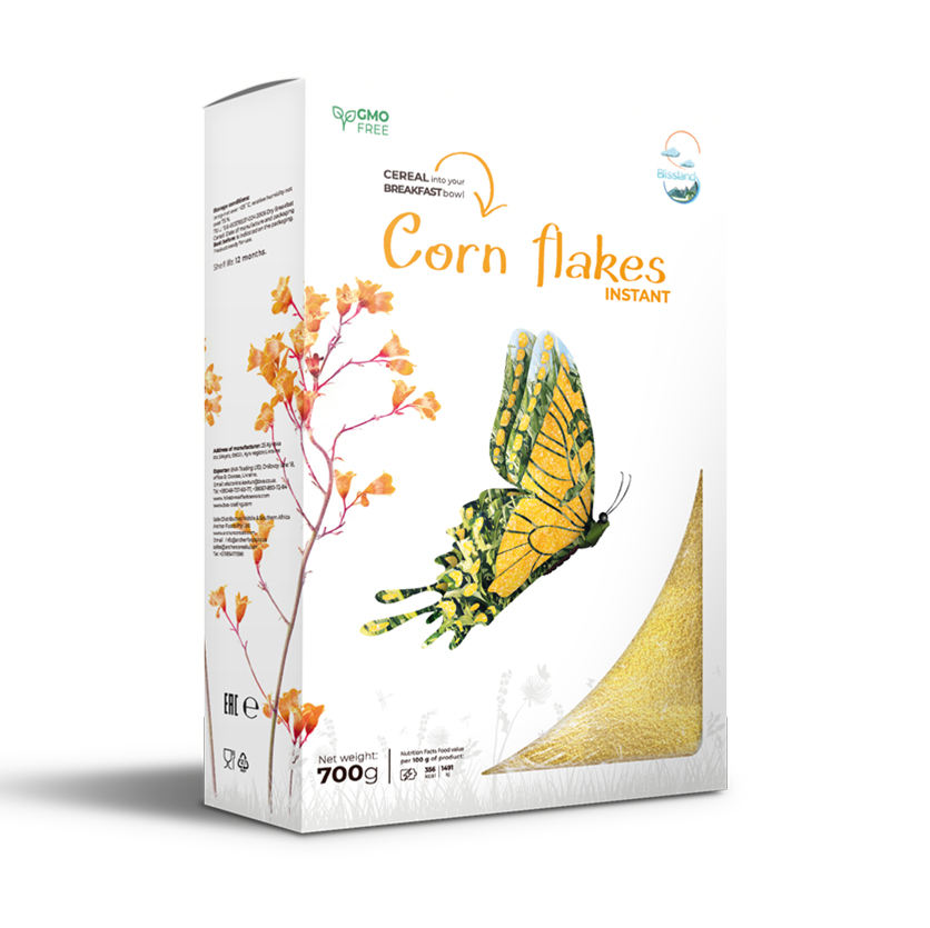Corn flakes of instant cooking breakfast cereal