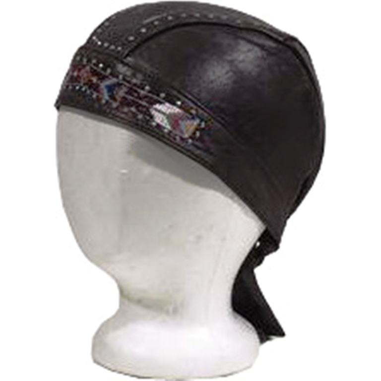 HMB-901J LEATHER SKULL CAPS DURAGS BLACK BEADS WORK SKULLCAP BANDANA HATS SPORTS CAP