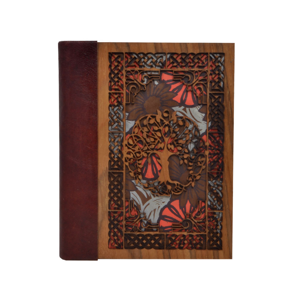 New Cut Work Tree Of Life With Creative Flowers Design Journals Eco Friendly Wooden Cover Office Notebooks 120 Pages