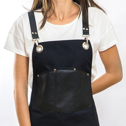 Custom Made Barber/Chef/Household Kitchen Bib Apron Cotton Canvas/Coffee Shop Apron With Leather Pockets Men/Women