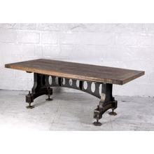 Old Mill Dining Table Hand Crafted Reclaimed Wood Recycled Cast Iron Base