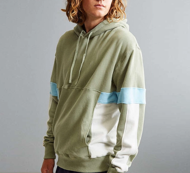 cotton pullover color block mens clothing hoodie