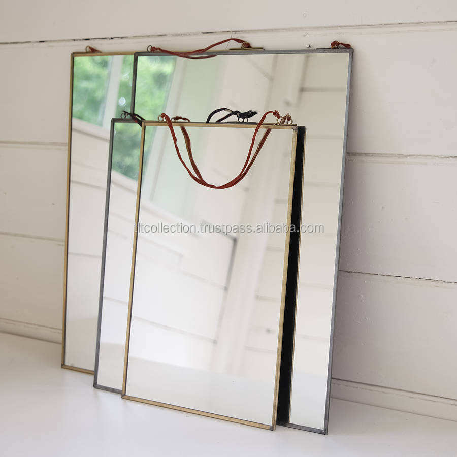 Brass Rectangular Free Standing Gold Frame Mirror Hanging Wall Mirror Frame Decorative Brass Mirror